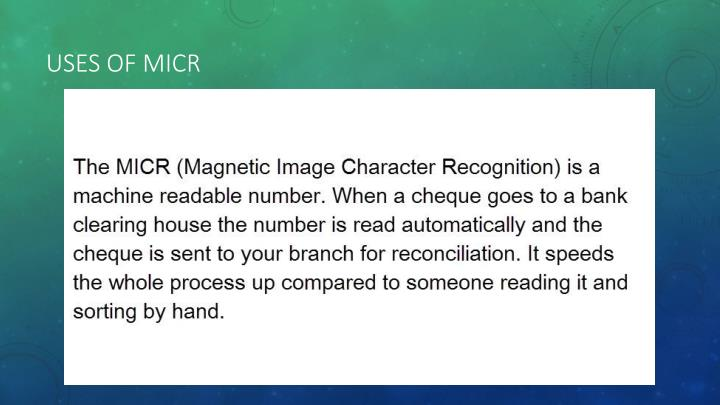 magnetic ink character recognition micr essay Free college essay explanation of input, output, storage be micr (magnetic ink character recognition) of input, output, storage devices and speed and.