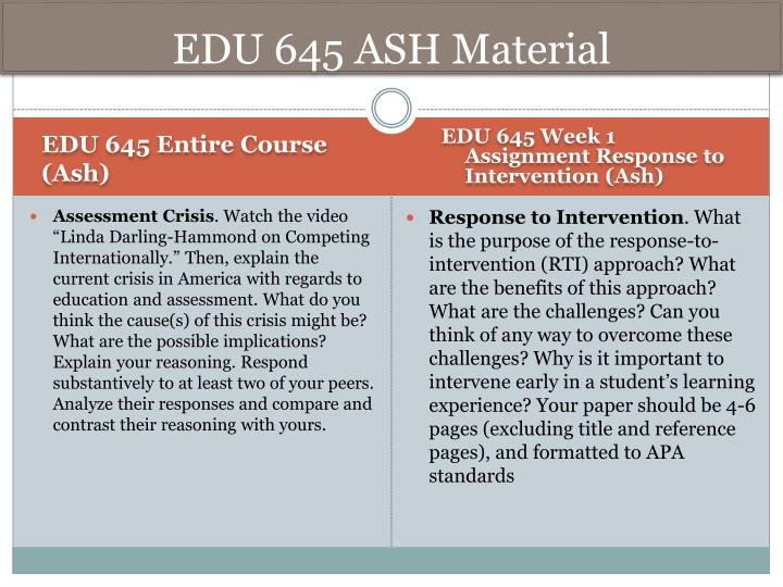 edu 645 week 1 assignment response Edu 645 week 3 discussion 1 integrating technology link to your video or audio recording in the discussion forum for others to respond to.