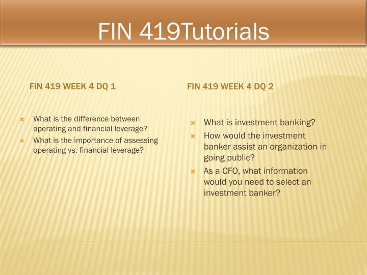 FIN 419Tutorials