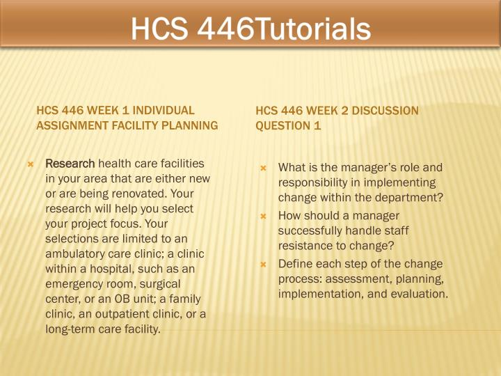 hcs 446 week 3 facility planning This tutorial contains 2 papers hcs 446 week 4 signature assignment facility planning-floor plan part 2 as you continue to build your final facility, the legal team has provided you with considerations for researching legal and regulatory requirements that may affect the facility planning process.
