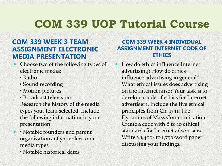 COM 339 UOP Tutorial Course
