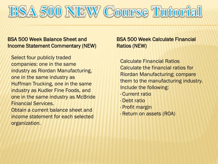 bsa 500 week 4 balance sheet Tutorialrank is a online tutorial store we provides bsa 500 week 5 individual assignment financial ratios analysis (riordan manufacturing) (uop course.