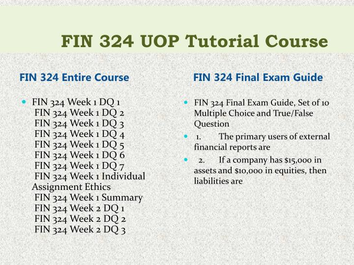 Fin 324 uop tutorial course1