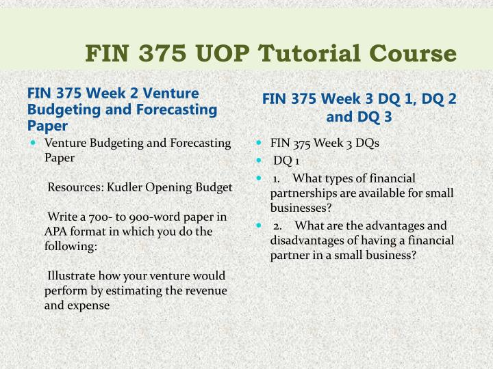 fin 375 week 2 venture budgeting forecasting paper