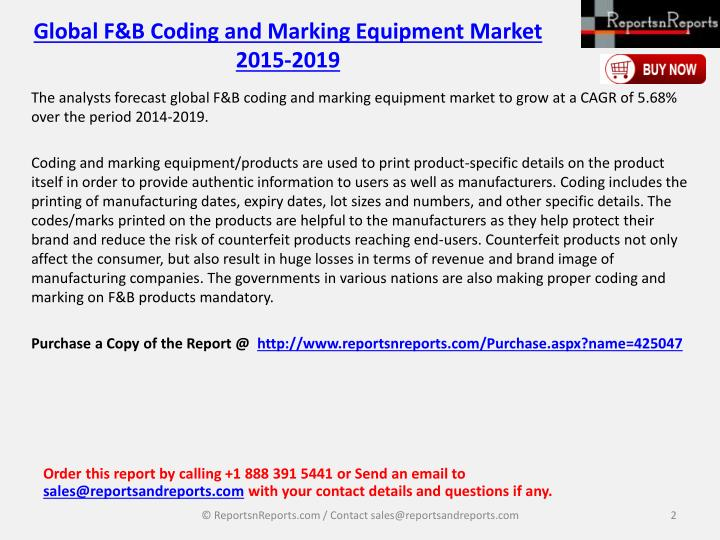 Global f b coding and marking equipment market 2015 20191