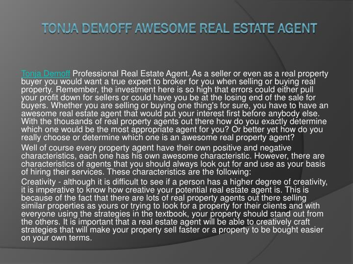 tonja demoff awesome real estate agent n.