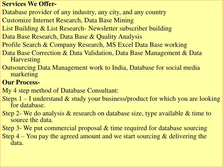 Services We Offer-