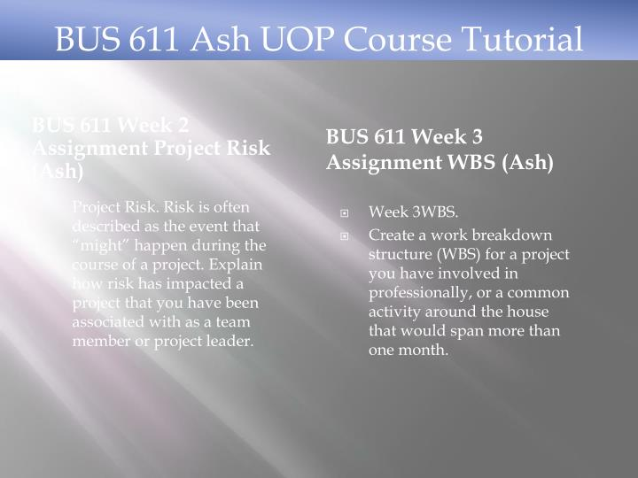 bus 611 work breakdown structure Create a work breakdown structure bus 611 week 2 assignment project risk bus 611 week 3 assignment wbs bus 611 week 4 assignment integrated project.