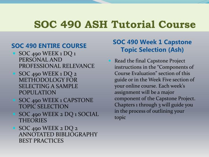 Soc 490 ash tutorial course1