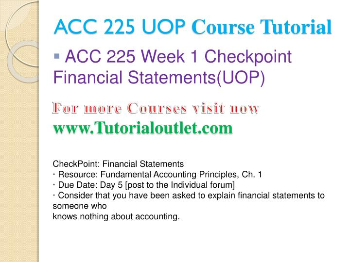 Acc 225 uop course tutorial1