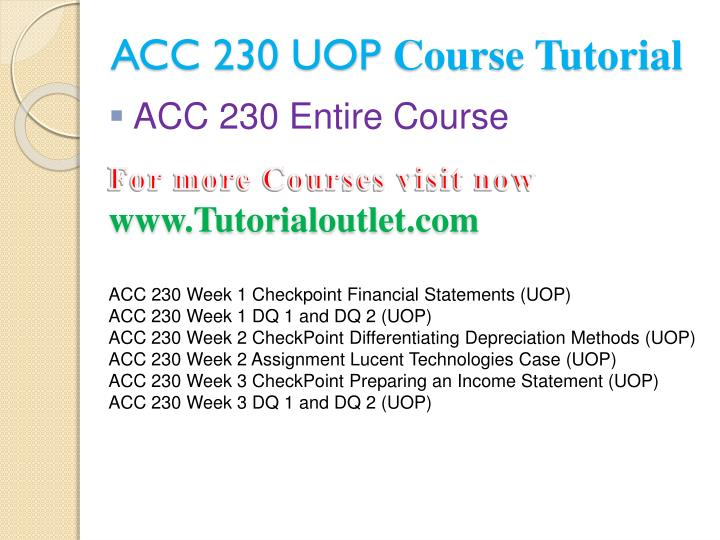 Acc 230 uop course tutorial1