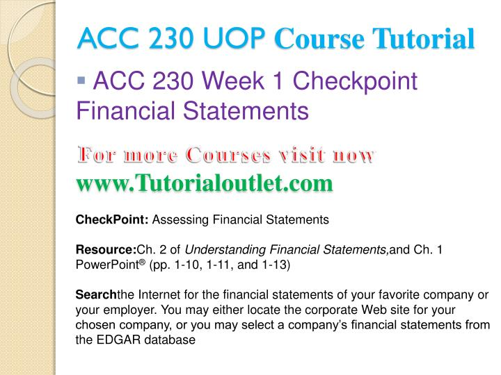 Acc 230 uop course tutorial2