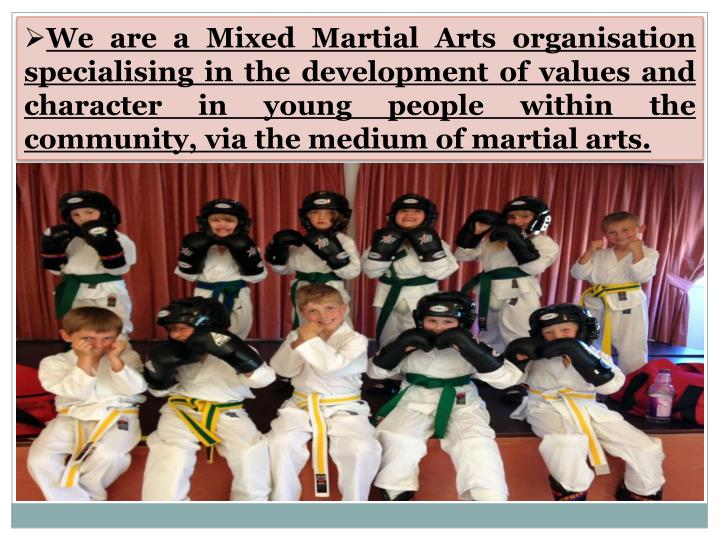 We are a Mixed Martial Arts organisation specialising in the development of values and character in ...