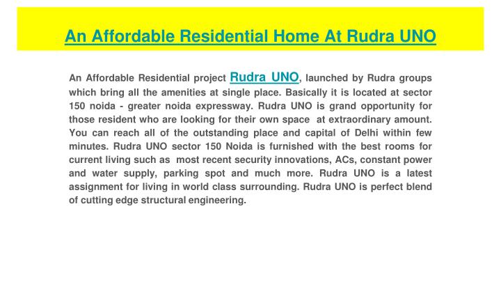 an affordable residential home at rudra uno n.