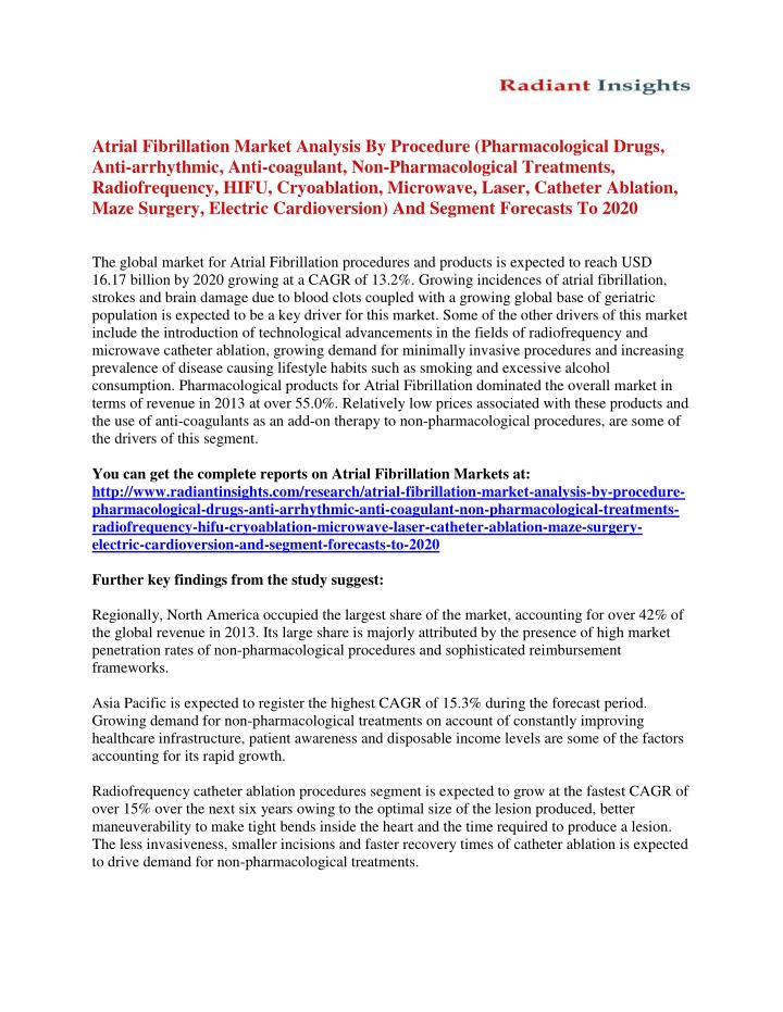 Atrial Fibrillation Market Analysis By Procedure (Pharmacological Drugs,