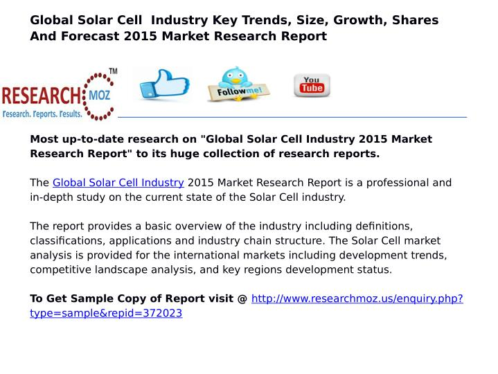 Global Solar Cell  Industry Key Trends, Size, Growth, Shares