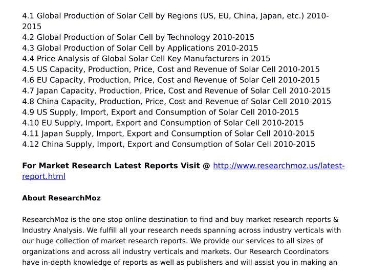 4.1 Global Production of Solar Cell by Regions (US, EU, China, Japan, etc.) 2010-