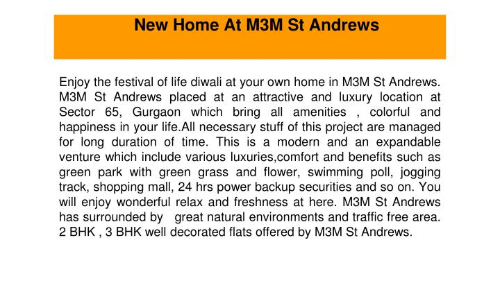 new home at m3m st andrews n.