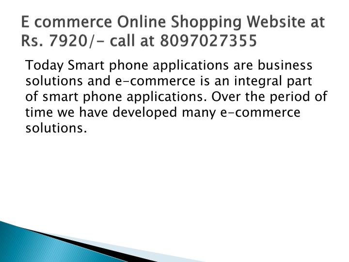 E commerce online shopping website at rs 7920 call at 8097027355