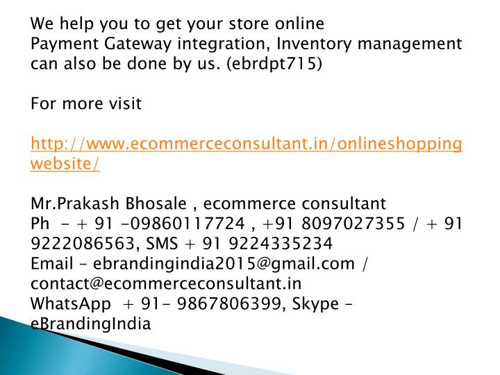 We help you to get your store online
