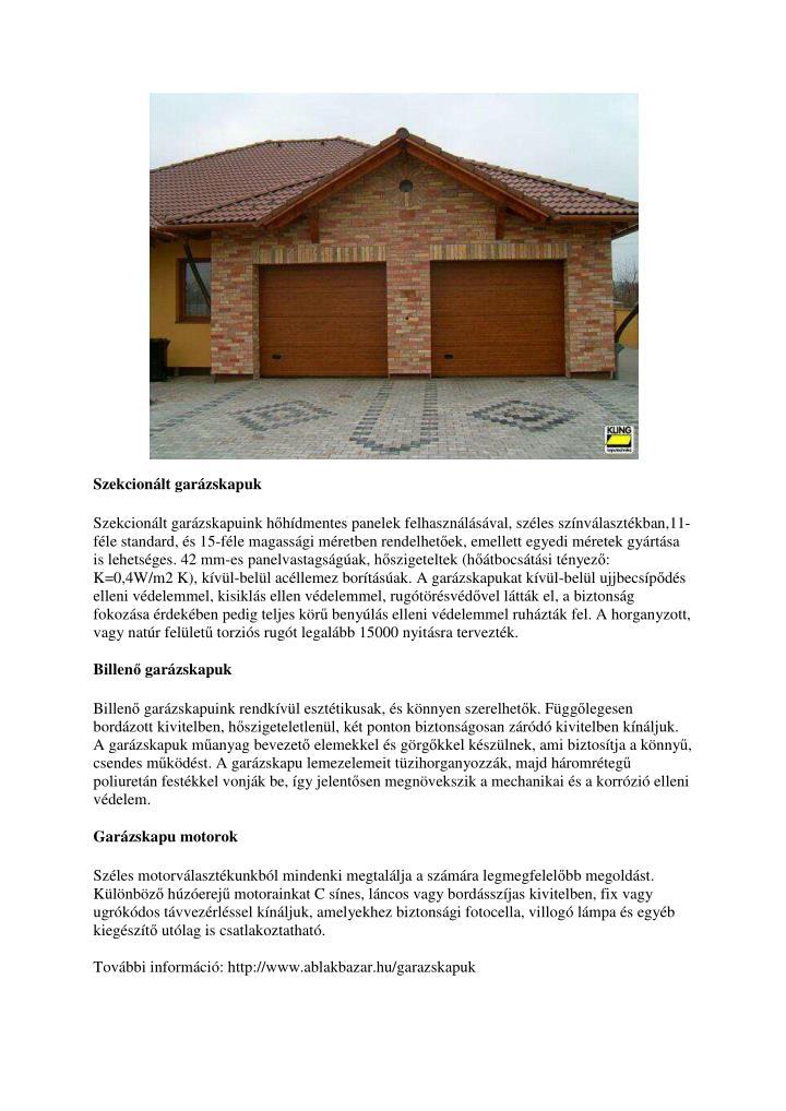 Szekcionált garázskapuk