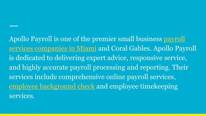 Apollo Payroll is one of the premier small business