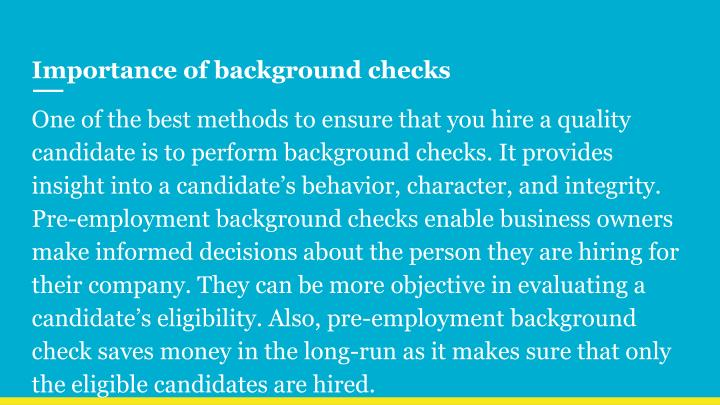Importance of background checks