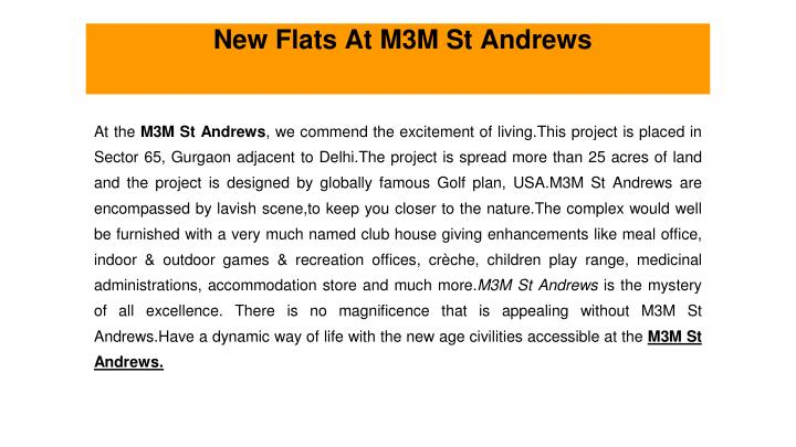 new flats at m3m st andrews n.
