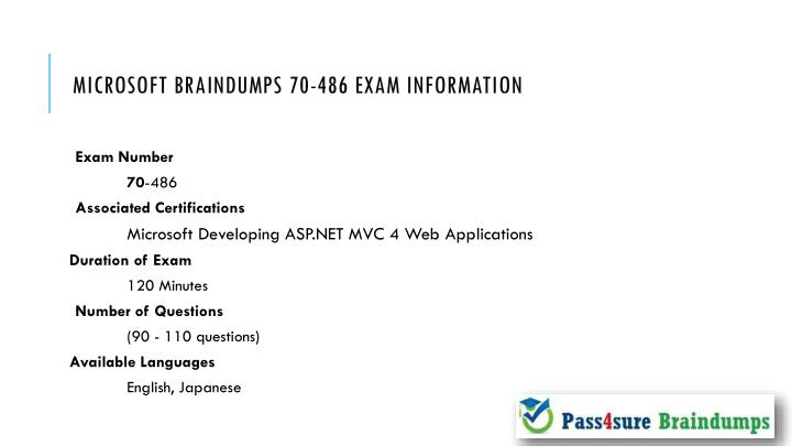 Microsoft braindumps 70 486 exam information