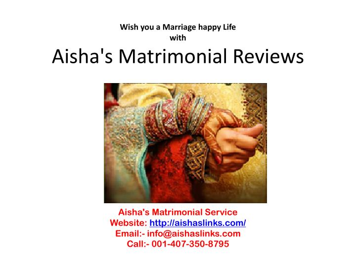 wish you a marriage happy life with aisha s matrimonial reviews n.