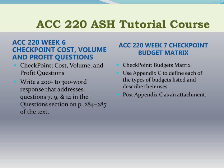 cost volume profit acc220