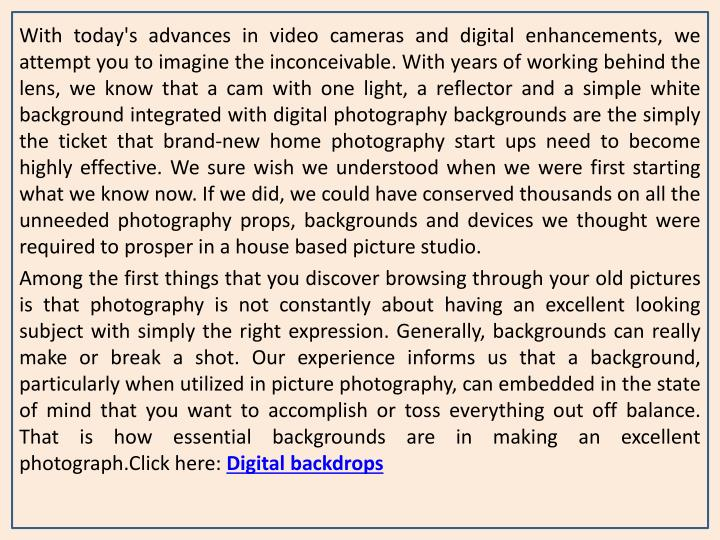 With today's advances in video cameras and digital enhancements, we attempt you to imagine the incon...