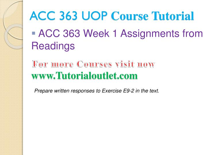 Acc 363 uop course tutorial1