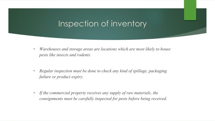 Inspection of inventory