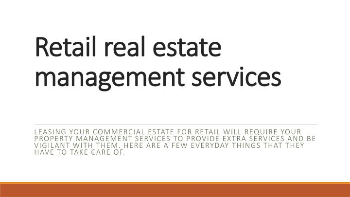 retail real estate management services n.