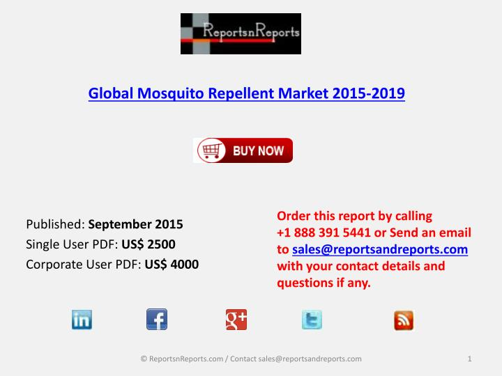 global mosquito repellent market 2015 2019 n.