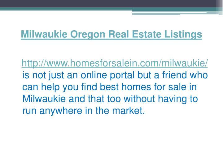Milwaukie Oregon Real Estate Listings