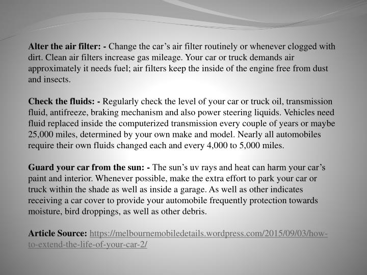 Alter the air filter: -