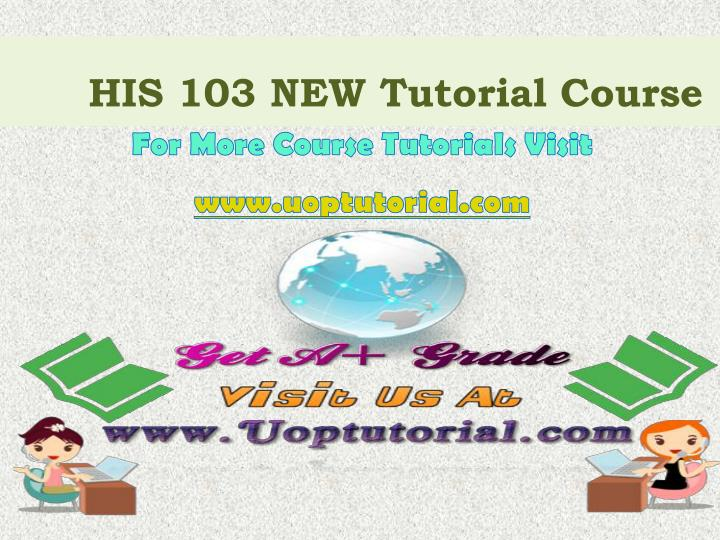 his 103 new tutorial course n.