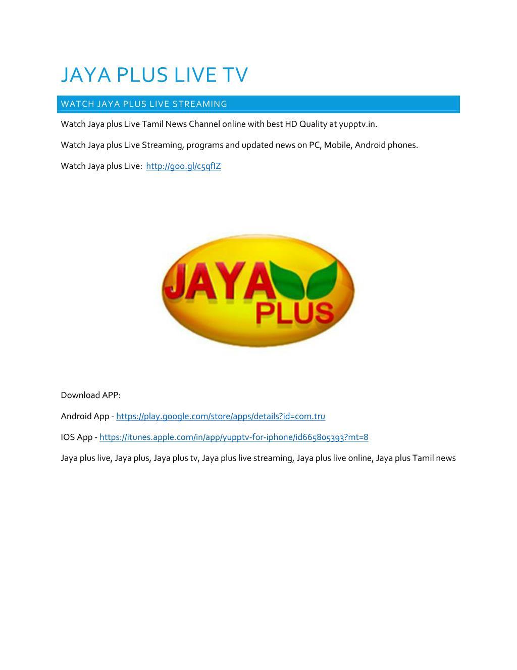 PPT - JAYA PLUS LIVE TV PowerPoint Presentation - ID:7216649