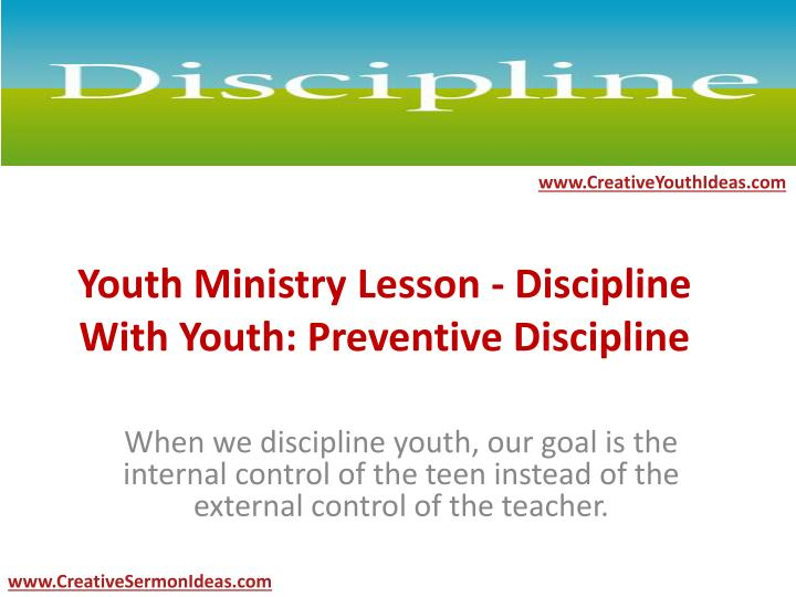 youth ministry lesson discipline with youth preventive discipline n.