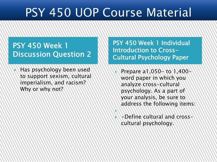 PSY 450 Week 1 Discussion Question 2