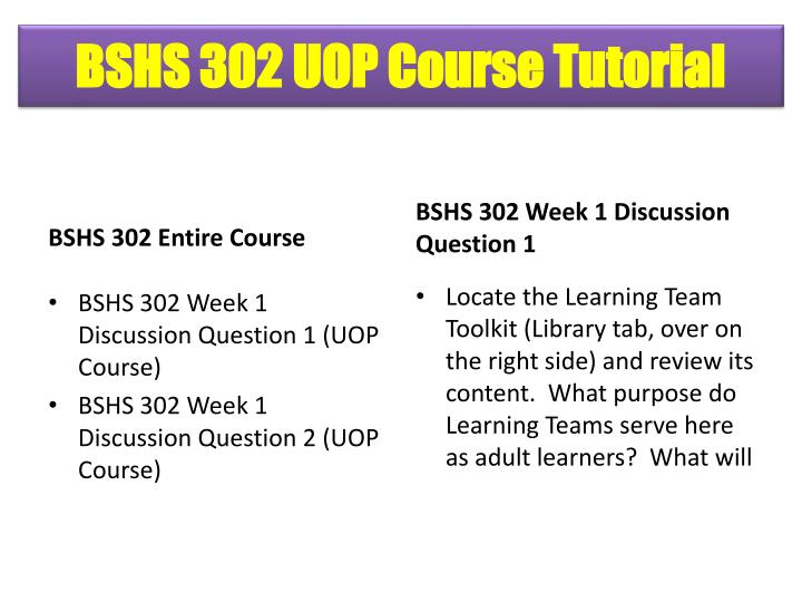 bshs 302 entire course