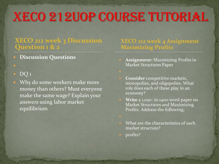 xeco 212 maximizing profits in market structures paper
