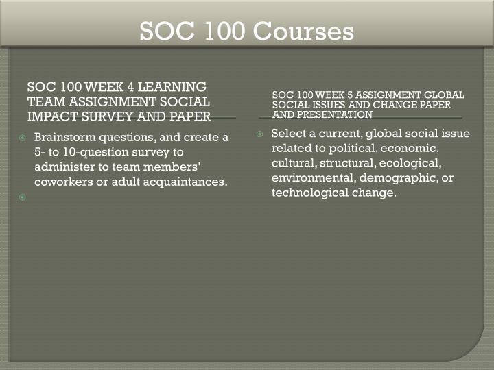 SOC 100 Courses