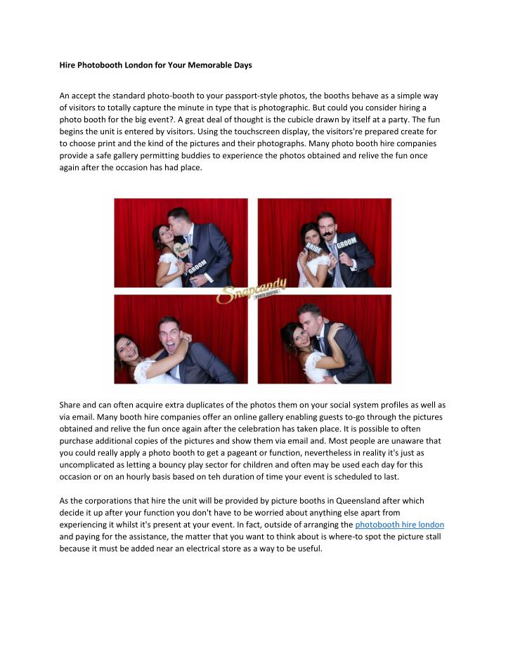Hire Photobooth London for Your Memorable Days