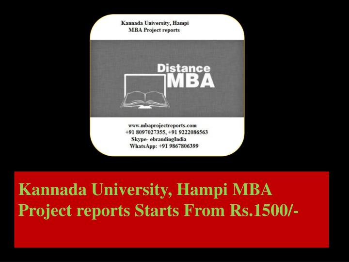 kannada university hampi mba project reports starts from rs 1500 n.