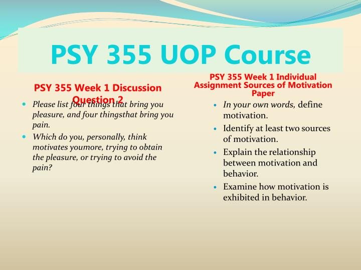Psy 355 uop course2
