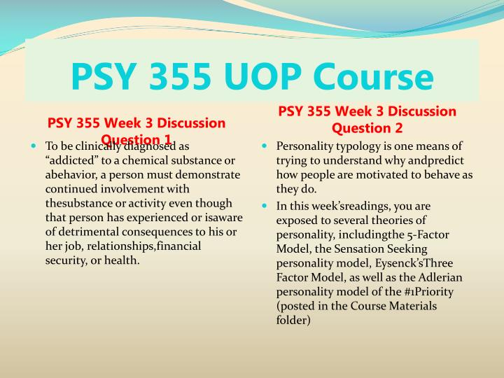 PSY 355 UOP Course