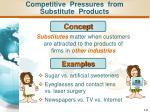 competitive pressures from substitute products